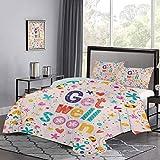 UNOSEKS LANZON Juego de cama Get Well Soon Inspirational Positive Message Wish Cartoon Flowers Figuras alegres Juegos de cama para decoración de dormitorio Multicolor, tamaño doble