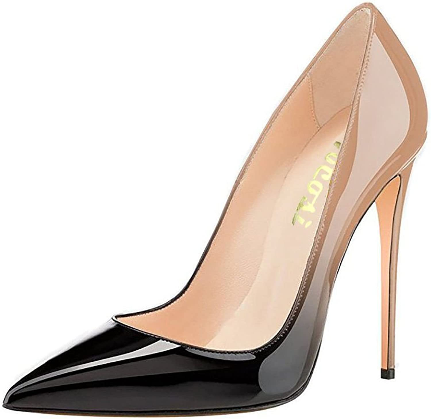 VOCOSI Pointy Toe Pumps for Women,Patent Gradient Animal Print High Heels Usual Dress shoes