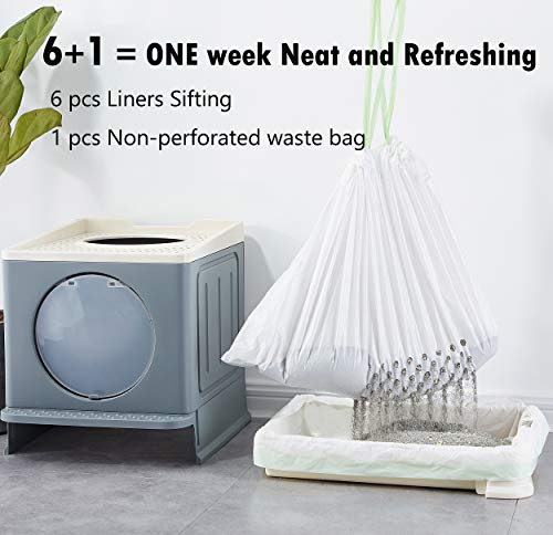 Gefryco Sifting Cat Litter Box Liners, Jumbo Disposable Waste Litter Bags, Drawstring Litter Pan Liners