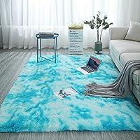 絞り染めのカーペットのリビングルームのコーヒーテーブルマット長い髪の寝室のフロアマットと素敵なベッドサイドの毛布-タイダイ-白と青[ロングヘア]_幅120cmx長さ200cm