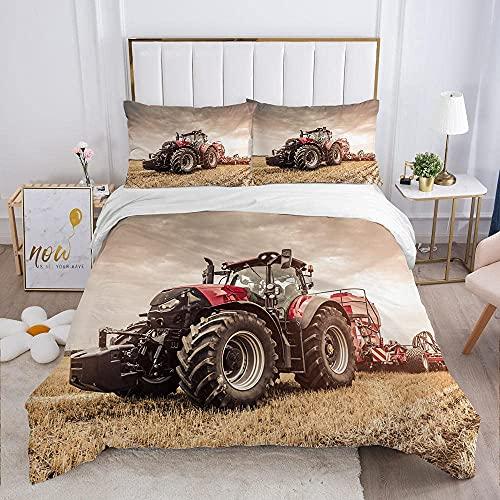 FUMOJI Ropa de cama de 135 x 200 cm con diseño de tractor rojo, juego de ropa de cama con cremallera de microfibra suave (155 x 220 + almohada de 80 x 80 cm)