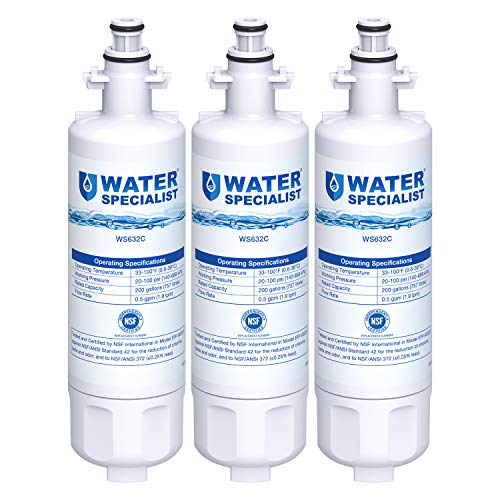 Waterspecialist ADQ36006101 Refrigerator Water Filter, Replacement for LG LT700P, Kenmore 9690, 46-9690, 469690, ADQ36006101, ADQ36006102, LT700PC, WSL-3, R-9690, LFXS30766S, Pack of 3