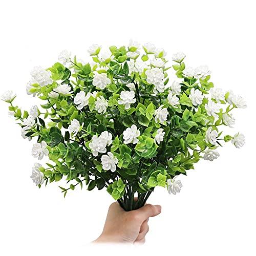 Flores Artificiales, 4 Manojo de Flores de Eucalipto Falsas Ramos de Flores de Loto de Plástico para Interiores y Exteriores, Jardín, Porche, Patio, Oficina, Decoración del Hogar (Blanco)