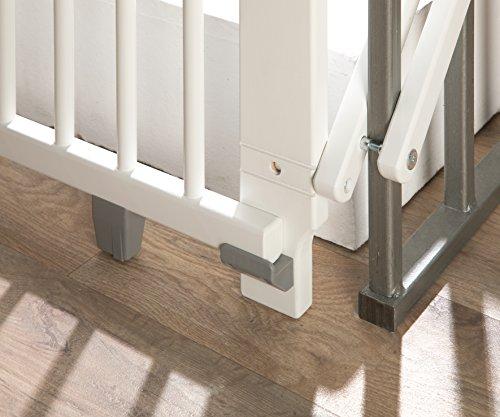 Geuther - Treppenschutzgitter ausziehbar 2733+, für Kinder/Hunde, Schrauben/Klemmen am Geländer, verstellbar, Holz, weiß, 67 - 107 cm, TÜV geprüft - 6