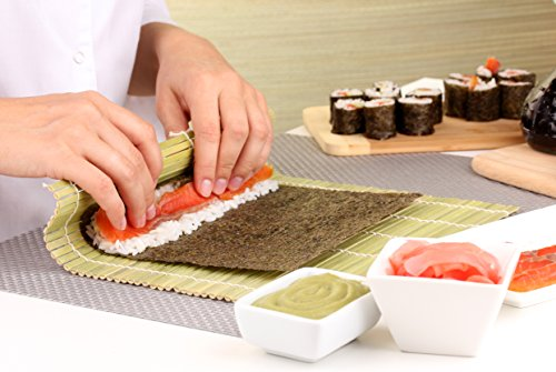 Helen's Asian Kitchen Sushi Mat, 9.5-Inches x 8-Inches, Natural Bamboo