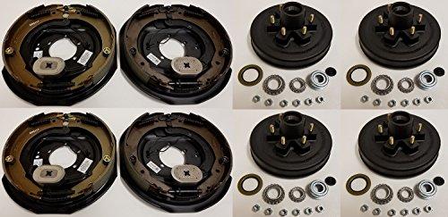 2-Pk Trailer Brake Backing Plates 12 in. (2LH 2RH) w/4 Hub/Drum Kit (6 on 5.5)