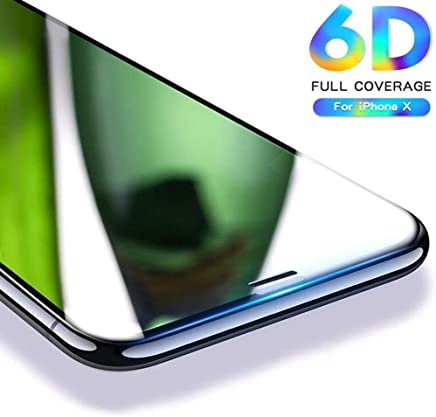 nzon™ 6D iPhone X Tempered Glass, for iPhonex Screen Glass Protector, nzon Apple 10 [6D Tempered Glass] Anti-Scratch, Ultra-Clear Screen Protector Film for iPhone X (6D Black)