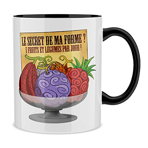 Okiwoki Mug Noir One Piece parodique Fruit du Démon : Le Secret de la Forme des Pirates de Grand Line ! (Parodie One Piece)