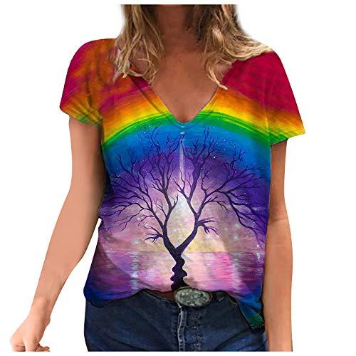 YANFANG Blusa de Camiseta con Cuello en V con Estampados de Manga Corta de Talla Grande para Mujer Casual Verano Basica Buen Juego, Pink,XXXL
