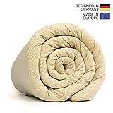 LEVIA Gewichtsdecke (7KG) für gesunden Schlaf | Therapiedecke inkl. kühlendem Bezug | Farbe: Gold/Weiß | Größe: 140 x 200cm | Material: Baumwolle