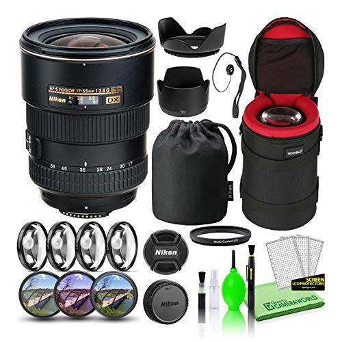 Nikon AF-S DX Zoom-NIKKOR 17-55mm f/2.8G IF-ED Lens (2147) USA Model Bundle Package with Padded Lens Case + Macro Filter Kit + UV, CPL, FL Lens Filters + Tulip Hood + Lens Cap Keeper + Cleaning Kit