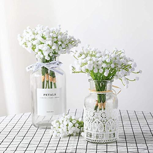 Veryhome - 10 Ramos de Flores Artificiales de gypsophila para decoración del hogar (Color Blanco)