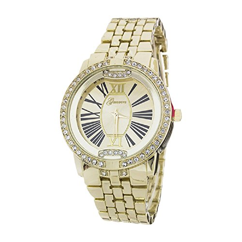 2Chique Boutique Women's Crystal Bezel Roman Number Dial Fashion Watch Gold -  Geneva, CBG-2166
