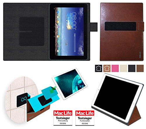 reboon Hülle für Asus MeMO Pad 10 ME102A Tasche Cover Case Bumper | in Braun Leder | Testsieger