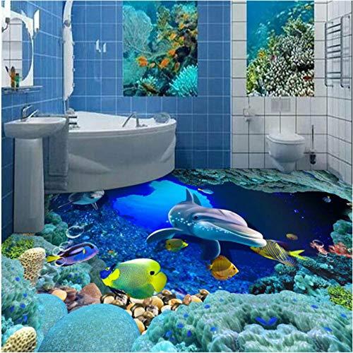 MMNEB Großes benutzerdefiniertes Tapeten-Wandbild Underwater World 3D Bathroom Flooring 3d wall murals-350X250CM