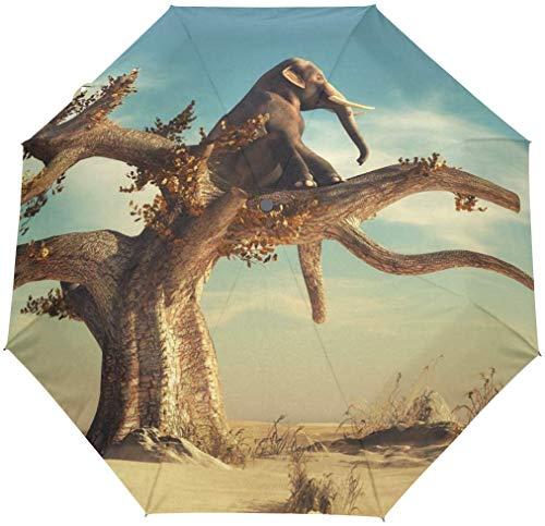 Jacque Dusk Ombrello-Elefante Solitario Seduto Albero Secco Paesaggio Desertico Ombrello Da Viaggio Auto Apri Chiudi Ombrello Pieghevole Antivento Impermeabile Baldacchino Compatto