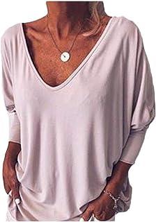 neveraway Women Plain V Neck Relaxed Casual Work Long Sleeve Blouse Shirt