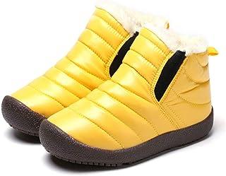 CT-Tebrun Boys Girls Winter Snow Boots Outdoor Kids Boots Slip-on Lightweight Waterproof Cold Weather Side Zipper Short An...