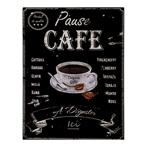 Antic Line Plaque « Pause caf頻 33 * 25 cm
