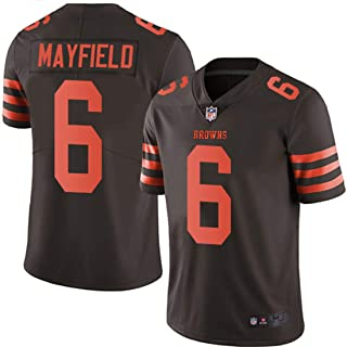 f0f329ea21b Men s Cleveland Browns  6 Baker Mayfield Brown Embroidered Name   Number  Jersey