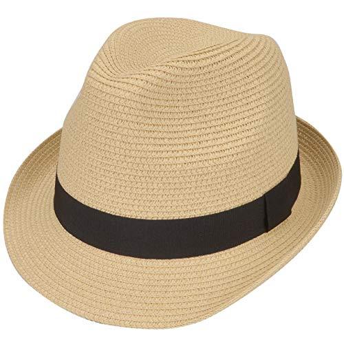 Sombreros Panama Hombre de ala Corta Verano Transpirables, Sombrero Trilby Paja Enrollable Clásico...