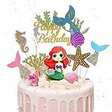 Decoración para Tarta de Sirena,7 Piezas Sirena Cupcakes Decoración,purpurina Sirena Decoracion Tarta,para Fiesta de Cumpleaños, Baby Shower y Fiesta de Bodas