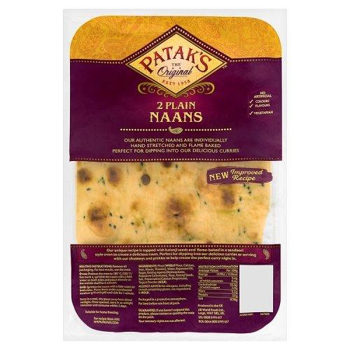 Patak's Naans 'Plain' 2 x 140g Packung (Indisches Fladenbrot Natur)