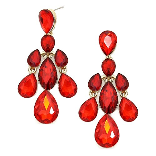 LUXUS SCHNÄPPCHEN. Schmuckanthony Abendschmuck Abi Ball Cocktail Schmuck lange Ohrringe Ohrstecker Earrings Kristall Rot Red Rouge 6,5cm Lang