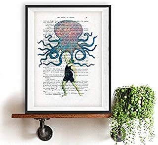 Octopus Man Weird Vintage Printed on Real Vintage Paper from Around 1900 Annes folles Moulin Rouge Paris Folie Bergres