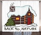 ABAKUHAUS Cabaña de Madera Cortinas, Acogedora cabaña de Madera Cubierto de Nieve, Sala de Estar Dormitorio Cortinas Ventana Set de Dos Paños, 280 x 260 cm, Blanco Multicolor