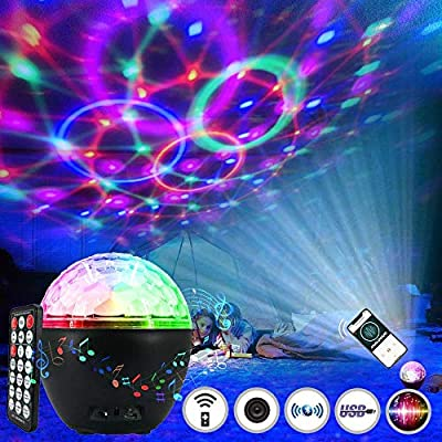 Led Disco Ball Light 16 Colors, Pulchram Bluetooth Speaker Disco Lamp Stage Light Rotating Party Light with Faceted Ball Remote Control USB Cable for Party Christmas Bar DJ Birthday Wedding (A)