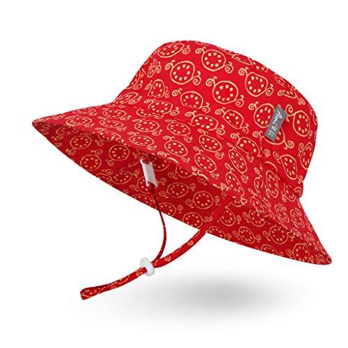 Sombrero de Sol para Bebé Niña Niño Infantil Niños Pequeños Unisexo Ajustable Sombrero Bob Protección Solar UPF 50-M:Granada