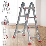 Escalera multiusos plegable de aluminio de 4 peldaños (4 x 4 peldaños) de 150 kg