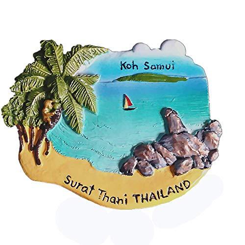 Koh Samui Surat Thani Tailandia Imán para nevera 3D de recuerdo turístico, colección de regalo, decoración para el hogar y la cocina, imán para nevera de Tailandia