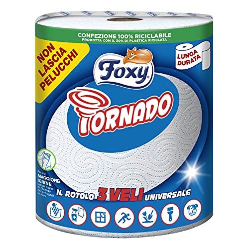 Foxy Tornado   Asciugatutto   1 rotolo   250 strappi   Rotolo 3 veli universale   Carta 100%...