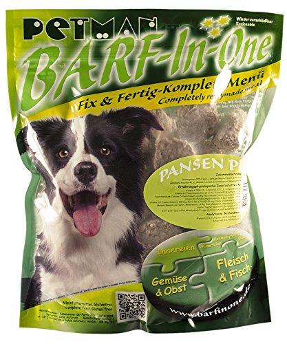petman Barf-in-One Pansen Plus, 6 x 1000g-Beutel,Tiefkühlfutter, gesunde, natürliche Ernährung für Hunde, Hundefutter, Barf, B.A.R.F.