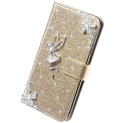 Herbests Kompatibel mit Samsung Galaxy S5 Hülle Bling Glitzer Strass Diamant Blumen Handyhülle Leder Hülle Wallet Klappbar Schutzhülle Flip Case Tasche mit Magnet Kartenfach,Gold