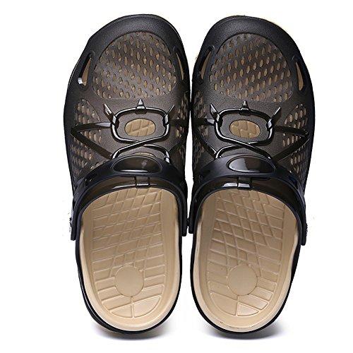 Zuecos Hombre Playa Piscina Sanitarios Enfermera Goma Verano Zapatillas de Trabajo Sandalias Negro Azul Amarillo 40-45 Negro 42