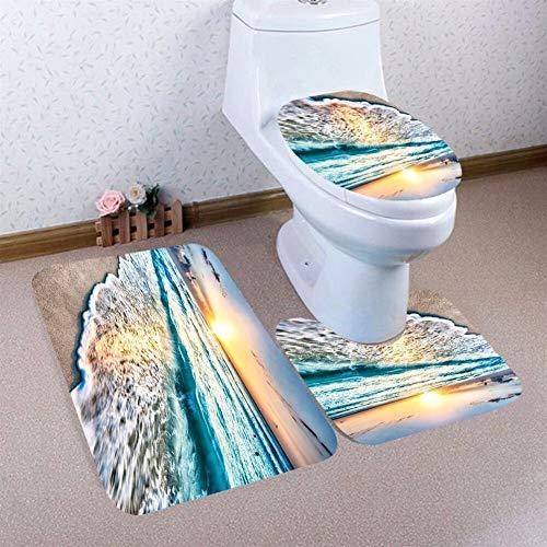 YJ-foryou 3PCS Toilet Seat Cover Kerstmis Badkamer Non-Slip Voetstuk Rug deksel WC Cover badmat Set toiletbril Cover Badmat (Color : D)