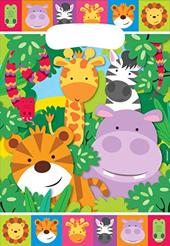 Amscan 9901919 - Partytüten Dschungel Tiere, 8 Stück, 23,5 x 16 cm, Mitgebsel, Kindergeburtstag