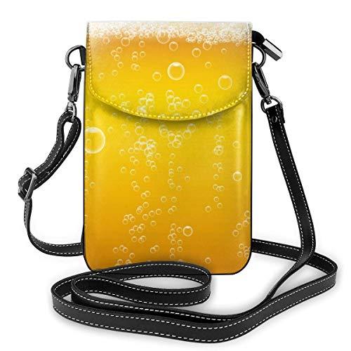 IUBBKI Bier Wahnsinn Leder Telefon Geldbörse Mehrfarbige Handy Tasche Geldbörse Schultergurt Handtasche Schlüsselhalter