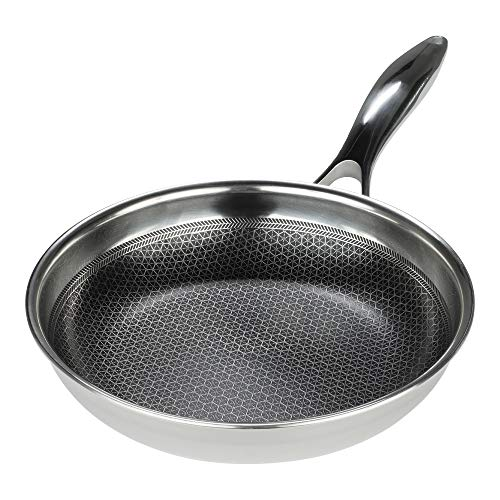 Black Cube Hybrid Stainless Steel Frying Pan with Nonstick Coating, Oven-Safe Cookware, 8 Inches