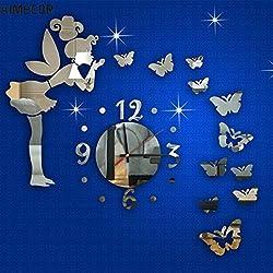 decorhomium Aimecor Happy Gifts 3D Home Modern Style Butterfly Fairy DIY Mirror Wall Clock 18