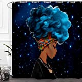 Baccessor Black Girl Shower Curtain Afro African American Woman Lady Shower Curtain Hip Pop Bathroom Decor with Hooks,Waterproof Polyester Fabric, 72'W x 72'H (180CM x 180CM) - Blue-Haired Black Girl