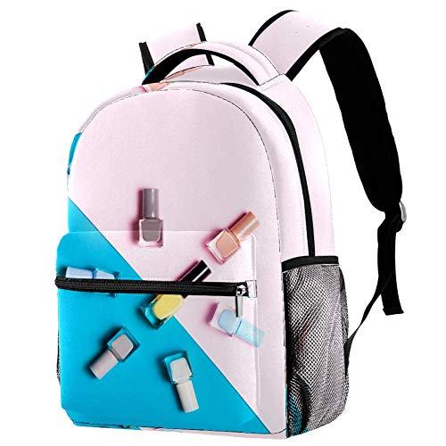 Guarderia Mochila Escolar Maquillaje De Esmalte De Uñas Mujer Linda Mochila para niños, Mini Gracioso Bolsa para la Escuela 29.4x20x40cm