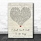 BIGGROUP Song Lyric Vintage Melody Style #EltonJohn I Just Can't Wait to Be King Script Heart Quote Music Sheet Classical Retro Birthday Fans Old Present Men Women Poster