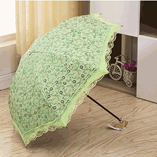 Hand Stickerei Sonnenschirm Dach Spitze Doppel Prinzessin Regenschirm Zwei Falten Regenschirm Sonnenschutz UV Schutz Regenschirm (Color : B)