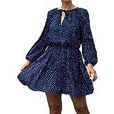 Abito da Donna Autunno Polka-DOT Tinta Unita Maniche Lunghe Sottile Scollo a V Cinturino Fashion Plus Size Dress Medium