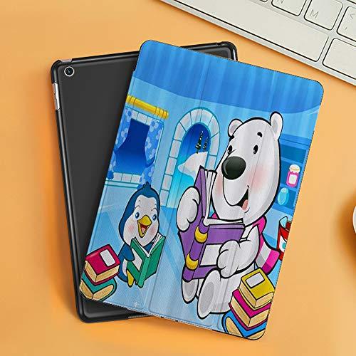 Cover per iPad 10.2 2019,L orso Polare e Il Pinguino del Fumetto dei Bambini Stanno leggendo,Ultra Sottile Leggero Pelle PU Stand Flip Folio Custodia Funzione di Sonno Smart Case