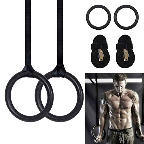 GUOJIAYI 24cm ABS Exercise Fitness Gymnastic Rings Gym Exercise with Straps Buckles Pull Ups Muscle Ups